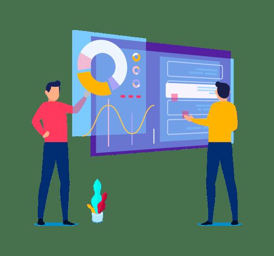 dos especialistas trabajando en el mantenimiento web en wordpress para un cliente